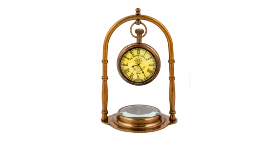 Lifestyle Antique Clock And Compass Duo