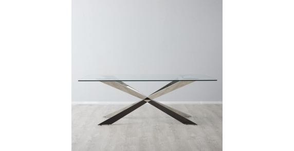 Lena stainless Steel Dining table with Glass top