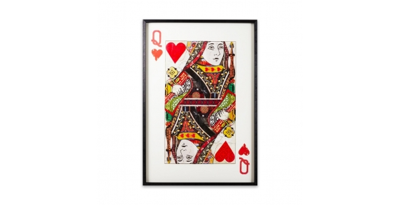 Queen of hearts framed paper collage