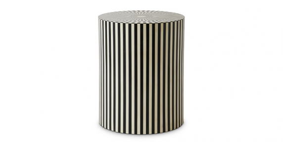 Vertical Stripe Black and White Side Table