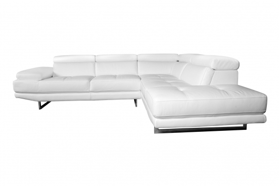 Aster Lounge Leather Sofa White - Right