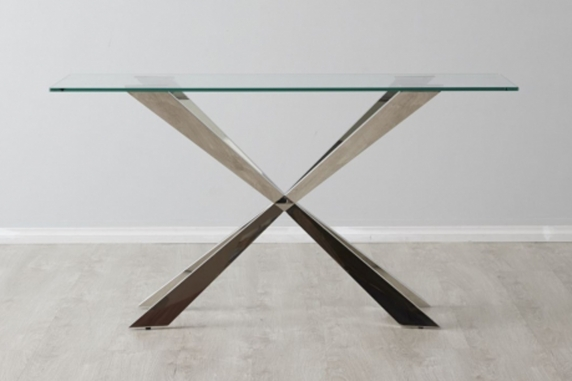 Lena Stainless steel sideboard glass top